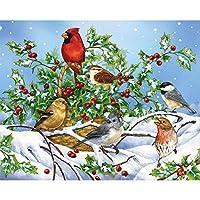 Bits and Pieces–1000ピースジグソーパズル–Holly Birds–鳥で雪のW / Cardinalパズル–by Artist Jane Maday–1000pcジグソー