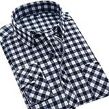 (アイラブコス)iLoveCos JP ネルシャツ メンズ ギンガム ブロック 長袖 チェックシャツ (M, ネイビーチェック)