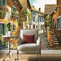 Xbwy 3Dカスタム写真壁画壁紙牧歌的な町ヴィンテージ家と花と壁紙付きリビングルームテレビソファの背景-150X120Cm