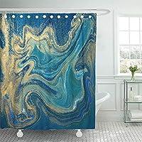 ペイントブルーグリーンとゴールド液体霜降りインク大理石抽象模様アクア自然石ターコイズ水防水シャワーカーテンカーテン装飾的なバスルーム無臭エコ 180X180 CM