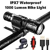 IPX7防水 1000ルーメン自転車ライトセット USB充電 小型懐中電...