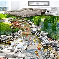 Hwhz 3D壁紙クラシックパークストリームフロアタイル壁画ステッカーリビングルーム浴室Pvc自己接着防水フローリング壁紙-250X175Cm