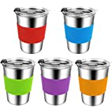 Stainless Steel Kids Cups with Lids,12oz Spill Proof Kids Tumbler with Lids,Metal Kids Water Cups with Lids,Leak Proof Toddle