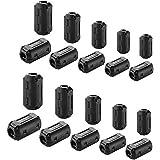 フェライトコア 内径Φ3.5mm, Φ5mm, Φ7mm, Φ9mm,Φ13mm 20個 セット ブラック 電源線 高周波 ノイズフィルター パッチンコア ブラック ヒンジ式