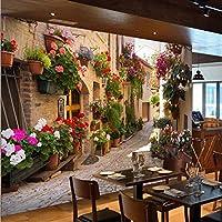 Mingld カスタム3D写真の壁紙風景リビングルームのソファ背景田舎風景郷愁家や鉢植えの花壁壁画-250X175Cm