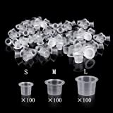 UPTATSUPPLY Tattoo Ink Cups 300Pcs Mixed Size Permanent Makeup Pigment Clear Holder Container Cap Tattoo Accessory