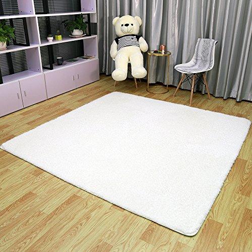 ラグ ラグマット シャギーラグ 絨毯 北欧 滑り止め付 マイクロファイバー 絨毯 ラグカーペット 洗える 約200cmx200cm (M, ホワイト)