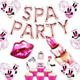 Spa Day Party Decorations Rose Gold Spa Party Balloons Banner Spa Cake Topper Inflatable Lipstick Red Kissy Lips for Girls Ma