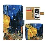 Tiara AQUOS SERIE mini SHV33 スマホケース 手帳型 アート ゴッホ 夜のカフェテラス 手帳ケース カバー [ET22603_02]