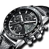 [メガリス]MEGALITH腕時計 メンズ時計レザー防水 クロノグラフ腕時計 多針アナログクオーツウオッチ ルミナス夜光 日付表示 ラグジュアリー おしゃれ ビジネス カジュアル メタル男性腕時計 ブラック