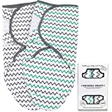 Swaddle Blankets for Newborn Boy and Girl, Large 3-6 Months Old, 2 Set of Adjustable Baby Wrap Sack, Aqua/Grey