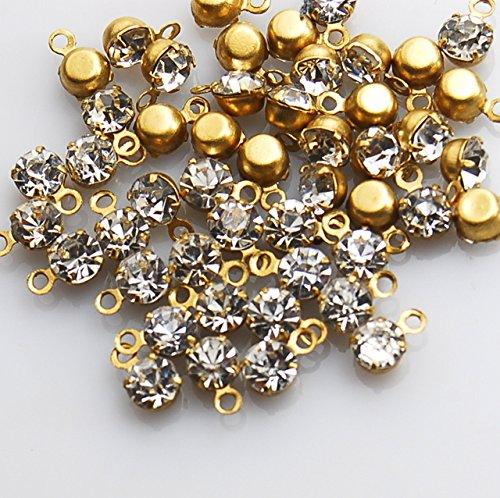 ラインストーンパーツ 【 ゴールド×クリスタル】 約30個セット カン付 ラウンド 台付き 素材 ガラスストーン フレームストーン アクセサリー素材