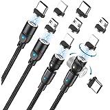 第三世代 マグネット 充電ケーブル 3in1 【5ピン】USB-C マグネット ケーブル 急速充電 ケーブル 360度+180度回転 QC3.0 ip/Micro usb USB2.0/phone/Android/Type-C対応 強い磁気 充電器