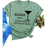 Bbrand Womens Liquor Graphic Tees Tops Alcohol Letter Print Casual T-Shirt Funny 2020 Sarcastic Shirts