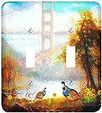 Doreen Erhardtカリフォルニアコレクション–California Quail with Poppies andゴールデンゲートブリッジ状態テーマ–照明スイッチカバー–ダブルトグルスイッチ( LSP _ 244698_ 2)