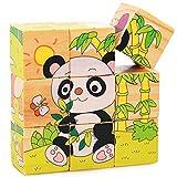 Hanaure 9点 3D 立体ジグソーパズル 木製 6種類の動物画像できる パンダなど 安全無毒 創造力を育てる知育玩具 想像力 トレーニングトイ 玩具 トイ 参考図案付き ルービックキューブ