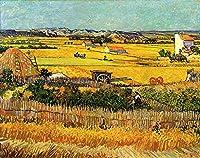 手描き-キャンバスの油絵 - Harvest at La Crau with Montmajour in the Background フィンセント・ファン・ゴッホ 芸術 作品 洋画 ウォールアートデコレーション VVG5 -サイズ02