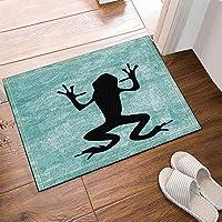 GooEoo フィールドバスラグのカエルの影と抽象的な背景滑り止め床のエントリー屋外屋内のフロントドアマット15.7x23.6inバスマット浴室の敷物