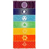 Neasyth Chakra Tapestry Meditation Yoga Rug Towels Mexico Chakras Tassel Striped Floor Mat 59 in