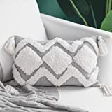 blue page Woven Tufted Tassel Throw Pillow Covers Fringe Sofa Couch Cushion Cover Decorative Square Cotton Pillows Cover ONLY