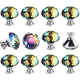Dxhycc 12Pcs Crystal Colorful Glass Drawer Pulls 30 mm Decorative Knobs Cabinet Knobs for Kitchen Bathroom Cabinet, Dresser a