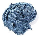 大判ストール シャンブレー 2色使い ビスコース ガーゼ 柔らか ふんわり UV対策 冷房対策 男女兼用 (ブルー)