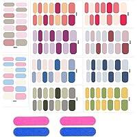 ANPHSIN 純色ネイルシール 10枚セット 配色カラー 貼るだけ 専用ファイル付き マニキュア ネイルアート ネイル…
