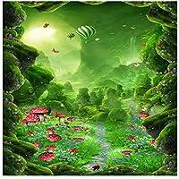 山笑の美 壁紙壁画大フローリングオリジナルドリームマッシュルーム3D床塗装浴室家の装飾-200X150CM
