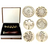 Moorlando Wax Seal Stamp Set, 6PCS Botanical Sealing Wax Stamp Brass Heads + 1PC Wooden Handle with a Gift Box Vintage Retro