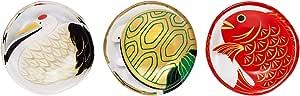 アデリア(ADERIA) 小皿 鶴亀鯛セット 最大9(口径9)×高さ1.8cm めでたmono 福寿 豆皿 (日本製) S-6309