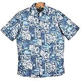 アロハシャツ Paradise Bay パラダイスベイ レイニーブルー/リーフ・フラワー・裏生地 ハワイ製 立ち襟(US Lサイズ)