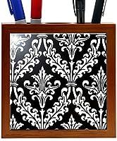 Rikki Knight 5-Inch Black and White Color Damask Design Wooden Tile Pen Holder (RK-PH1333) [並行輸入品]