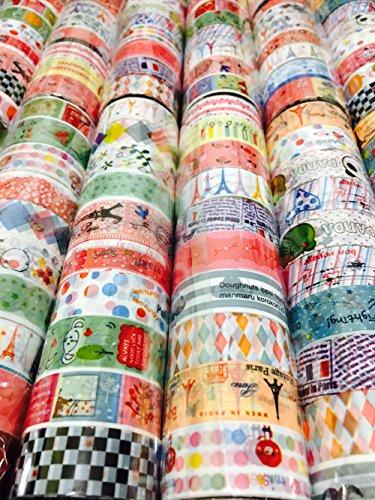 TravelTheWorld かわいい マスキングテープ 60個 セット ポップな柄 (1.5cm幅60個)