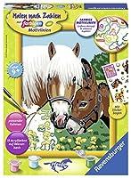 Haflinger und Esel Malen nach Zahlen Serie Pferd: Mit Pferde Stickerbogen!