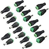 VIPMOON 10 Pair Male & Female 2.1x5.5MM BNC/DC Power Connector Adapter