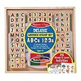Melissa & Doug Deluxe Wooden Stamp Set - ABCs 123s (Arts & Crafts, 4-Color Inkpad, 70 + Pieces, Great Gift for Girls and Boys - Best for 4, 5 and 6 Year Olds)