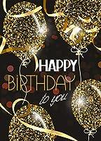 6×8フィート ゴールドエアバルーン 星のチケットテープ付き Happy Birthday Wishes絵柄布 カスタマイズ写真背景 デジタル印刷背景 フォトスタジオ小道具