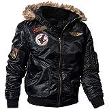 Home-MA Men's Military Flannel Jacket Fleece Lined Windproof Faux Fur Collar Warm Thicken Windbreaker Cotton Cargo Parka Coat