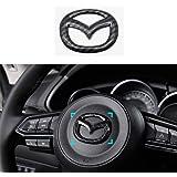 MAXDOOL Carbon Fiber Steering Wheel Cover Sticker Sequins Frame Trim for Mazda 3 6 CX-3 CX-5 CX-9 Interior Accessories (Carbo