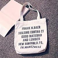 Student Tote Bag, Canvas Shoulder Bag Simple Light File Shopping Handbag (White Black Letter) Polykor