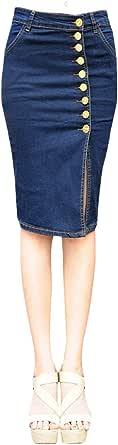 (アチックガール)Achicgirl レディース デニム ボタン付き フロント スリット スリムフィット ペンシル ミディ スカート