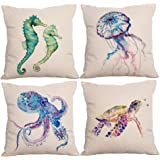 Decorative Throw Pillow Cover 18x18, Cotton Linen Pillow Cushion Cases for Couch, Sofa, Bed (Insert Not Included) - Seaworld-