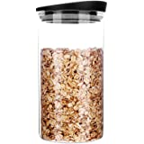 MIOCARO Glass Food Storage Containers Jar Plastic Lids 1200ml Airtight Canister Organization Sets Stackable