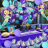 マーメイド誕生日 パーティー 人魚姫 女の子 ベビーシャワー 紫色 飾り付け アルミバルーン 風船 バナー ケーキトッパー ガーランド 漁網 36枚セット