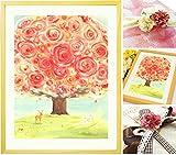 誕生日プレゼント 母親 絵画アート 「いのちの樹」【名前入れ・Sサイズ】 感謝 母 お母さん 女性 花 60代 70代 80代 50代 祖母 人気