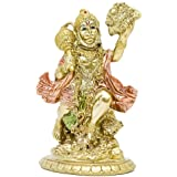 Hindu God Flying Hanuman Statue - Indian Small Idol Murti Pooja Sculpture - India Lord Gold Finish Figurine for Home Puja Tem