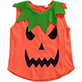 Unisex Baby Little Boys Girls Halloween Pumpkin Costumes Sleeveless Ruffled Ghost Tank Tops Clothes Outfits
