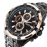 7 色 メンズ クロノ グラフ タイプ 高級 腕 時計 スポーツ スポーティー デザイン アナログ ウォッチ (ゴールド&ブラック)