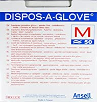 Ansell Dispos-A-Glove、パウダーフリー検査用グローブ、無菌、ミディアム、50個入り