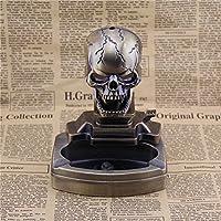 berteriデスクトップ灰皿とライターFlame、クリエイティブスカル形状灰皿Arts and Crafts誕生日ギフト